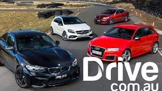 BMW M2 v Audi RS3 v AMG A45 v HSV Clubsport Comparison | Drive.com.au