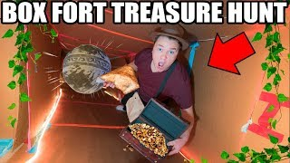 BOX FORT TREASURE HUNT! 📦💰Indiana Jones Temple, Traps, Puzzles & More!