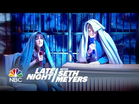 Zooey Deschanel And Seth Tell Adult Scary Stories - Late Night With Seth Meyers