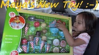Kitchen Toy Set for Girls: Ice Cream Parlor Toy Set Unboxing & Playtime w/ Maya