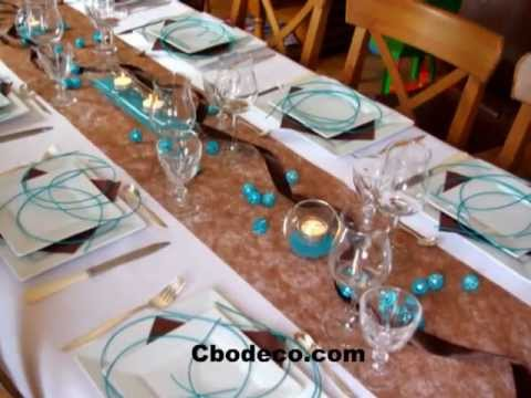 Id e d coration de table turquoise et chocolat by s bastien lho - Idee decoration table ...