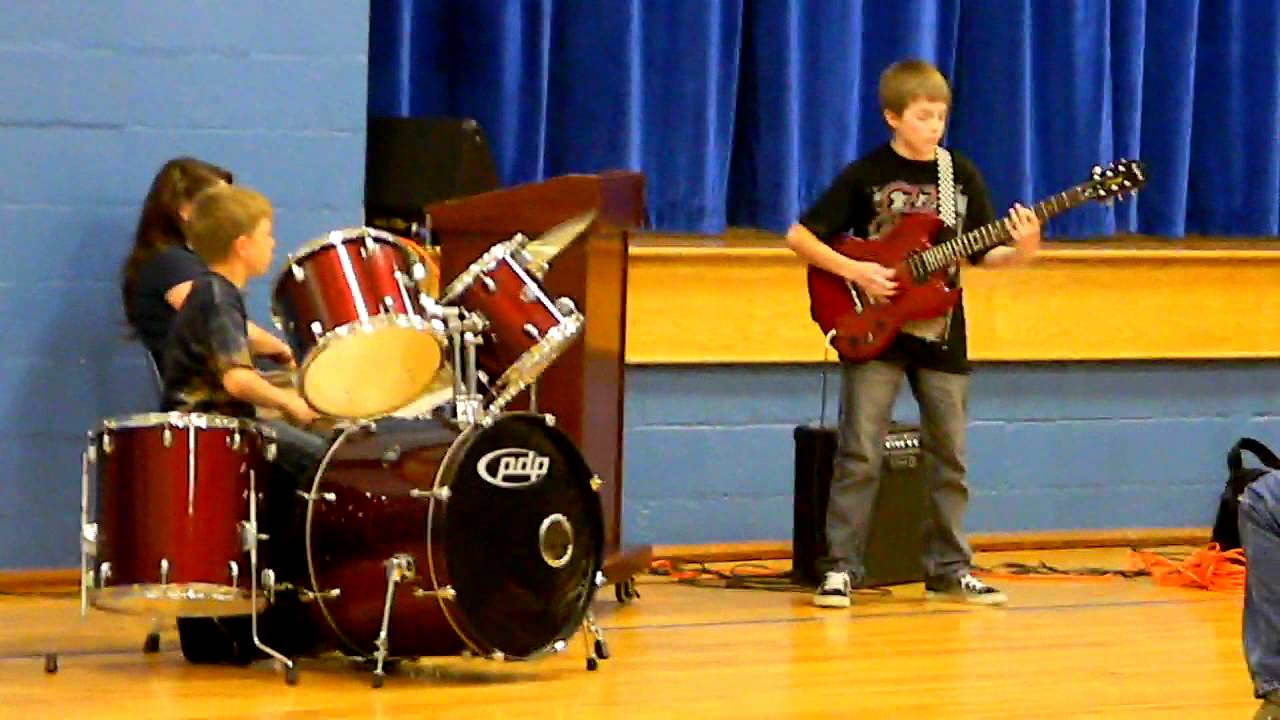 Little Boy Playing Drums 10 Year Old Boy Playing Drums
