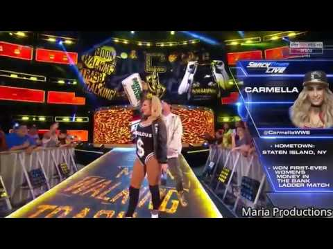 Carmella enters the arena with MVP's theme song