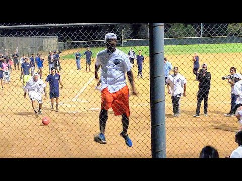 JR Smith AIRBORNE! After Home Run @ Chris Brown & Quincy Charity Kickball Event