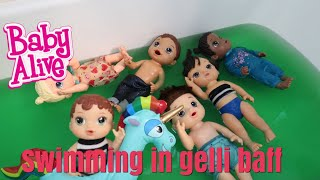BABY ALIVES Swimming in Gelli Baff Bathtub baby alive videos