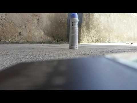 Impacto da jade 4.5 à 10mts em um vasilhame de desodorante!  #CameraLenta 🎯🔫💨