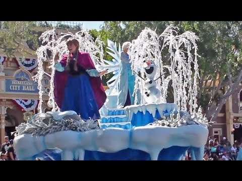 Frozen pre parade debut with Anna, Elsa, Olaf at Disneyland