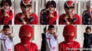 Playing dress up Spider-Man Thor power rangers police man doctor pirate