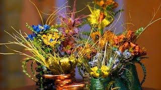 Цветочная композиция из природного материала