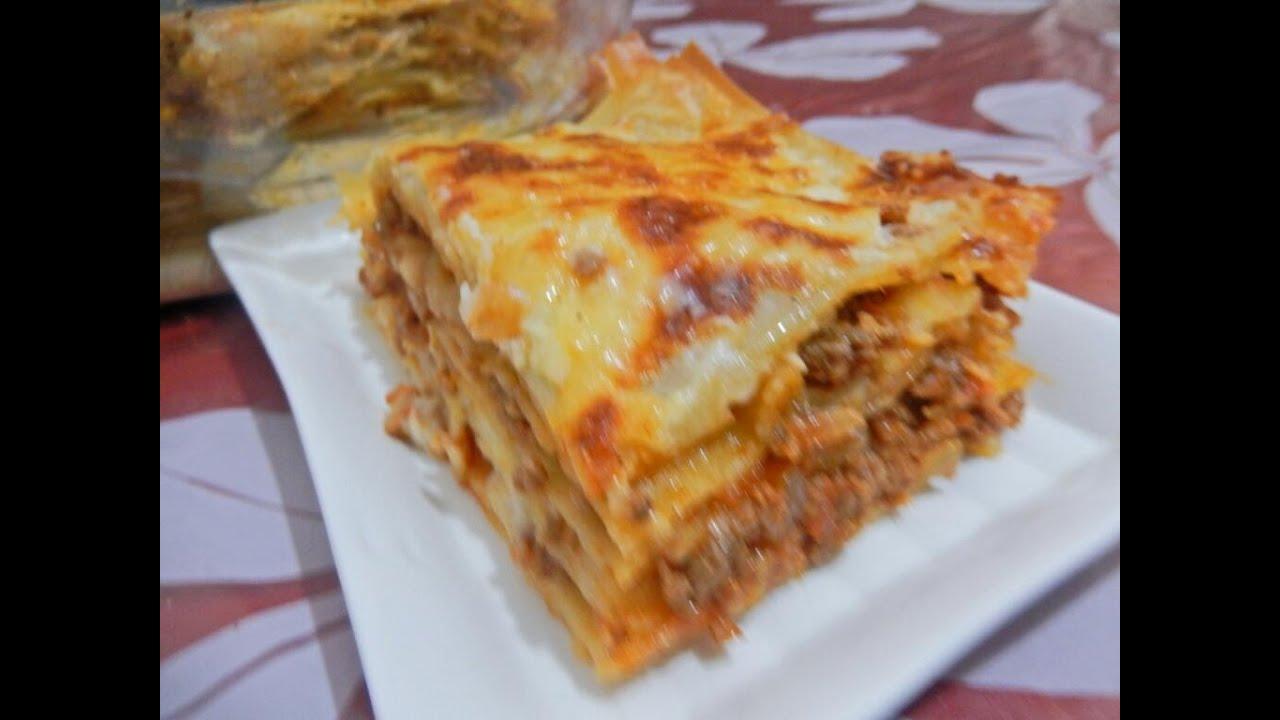 لازانيا باللحم المفروم / كراتان / مع طبخ ليلىLasagne à la viande hachée