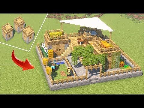 Превращаем 3 дома в 1 крутой! Переделка деревни майнкрафт!