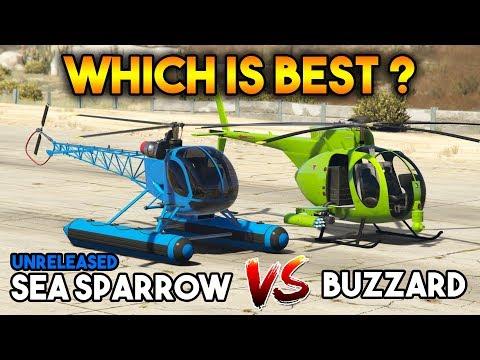 GTA 5 ONLINE : BUZZARD VS SEA SPARROW (WHICH IS BEST?)