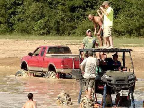 DRUNK GUY DOES BACKFLIP OFF MONSTER POLARIS RANGER 4X4 INTO WAIST DEEP WATER!! Video