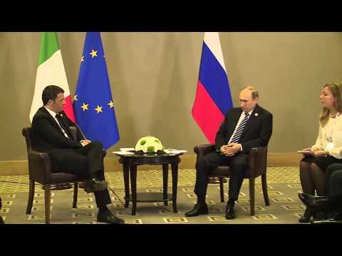 Matteo Renzi con Vladimir Putin al Summit G20 di A