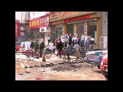 Sewage water pipe bursts in north China's Hebei Province