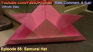How To Make Easy 3d Samurai Hat Origami カブト折り紙 Sombrero 帽子 Chapéu Kapelusz Topi