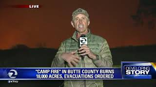 KTVU meteorologist Bill Martin in Paradise fire