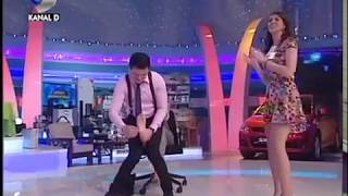 Game show woman foot tickled