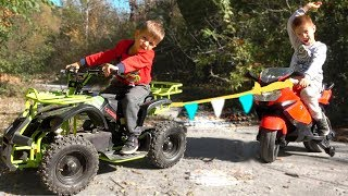 Kids Ride on Cross Bike and Pretend Play with Towing Cars / Kidscoco Club Baby Car Video