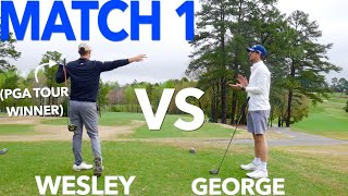 The Match: George vs Wesley. Pro vs PGA TOUR Pro (9 Holes Stroke Play) | Bryan Bros Golf