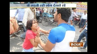 Crazy Husband Hitting His Wife on Road village husband wife fight