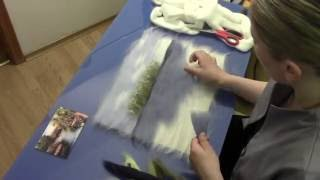 "ЖИВОПИСЬ  ШЕРСТЬЮ "" БЕРЕГ"" / FELTING of  PICTURE /  HOW TO MAKE A PICTURE of  WOOL"