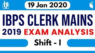 IBPS Clerk Mains (19th Jan 2020, 1st Shift) | Exam Analysis & Asked Questions