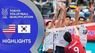 USA vs. KOREA - Highlights Men | Volleyball Olympic Qualification 2019