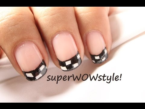 Checkered Tips ✦ Cute French Manicure Tip Nail Designs For Beginners!