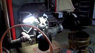 Play oil burner motor disassembly Burning used motor oil for heat