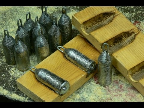 Making lead fishing weights in wooden moulds