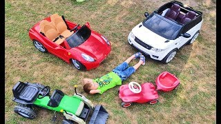 Funny BABY Ride on Tractor, Ferrari car, Range Rover Cars Collection for kids