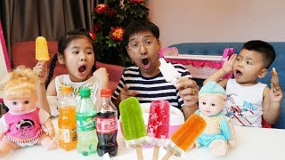 Be Bun Pretend Making ICE CREAM At Home with Coca Cola and Fanta vs Spriter ♥Baby Toysreview♥
