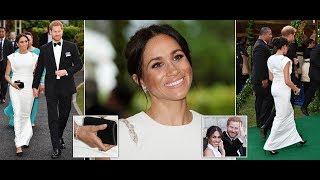 Meghan Markle teams Diana's aquamarine ring with white gown at Reception and Dinner in Tonga