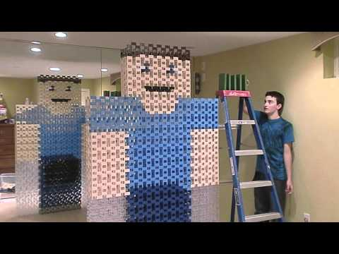 Lifesize Minecraft Steve out of Dominoes... Kinda