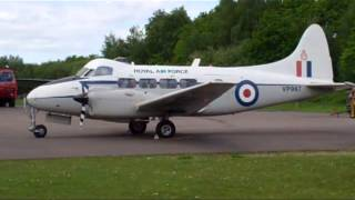 DH104 DEVON vintage aircraft engines start and run up to power.