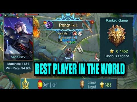 Mobile Legends: BEST PLAYER IN THE WORLD MOSKOV GAMEPLAY!! (No.1 Worldwide  Diem Ice)