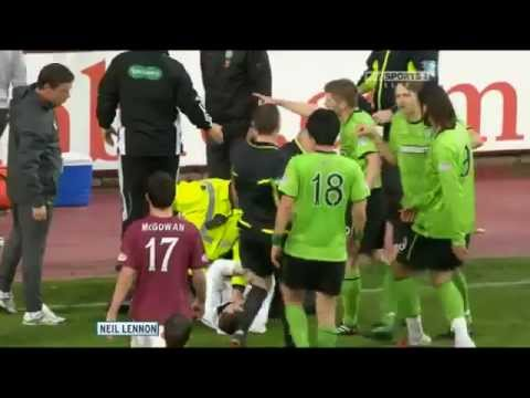 Neil Lennon attacked by Hearts fan 11/05/11