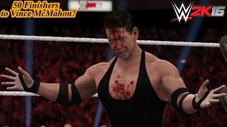 "WWE 2K16 50 Finishers to Vince ""Out of Touch"" McMahon! (PS4)"
