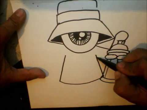 How to Draw - One eye Gangsta with a spraycan and a marker