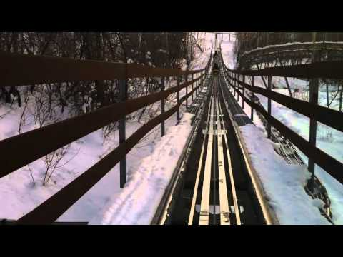 Alpine Coaster Roller Coaster in the Snow Front Seat POV Park City. Utah