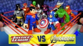 Avengers Toys vs Imaginext Justice League Toys Battle Royal ft Imaginext Batman Toys by KidCity