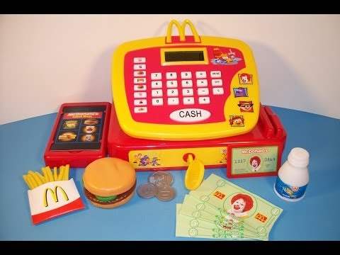 2013 JAKK'S PACIFIC McDONALD'S ELECTRONIC CASH REGISTER 15 PIECE PLAY SET TOY REVIEW