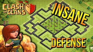 """INSANE DEFENSE!"" - Town Hall 9 DEFENSE STRATEGY (CoC TH9) BEST Defense Base Layout Defense 2015"