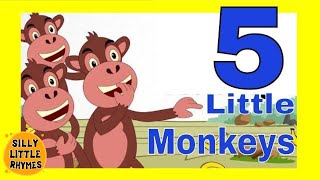 Five Little Monkeys Jumping on the Bed | English Classic Nursery Rhymes | Cartoon Songs For Children