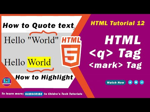 HTML video tutorial - 12 - html q tag and html mark tag