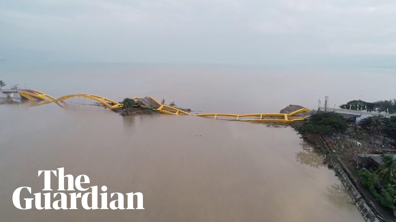 Drone captures aftermath of tsunami on Indonesian island