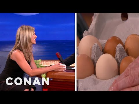 Jennifer Aniston Gives Conan Some Of Her Eggs
