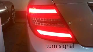 Mercedes Benz C Class W204 Upgrade Install to LED Original Rear lights tail lights Faclift Red Clear