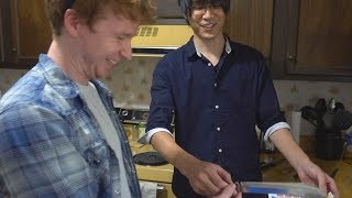 Jun teaches my brother how to sharpen knives